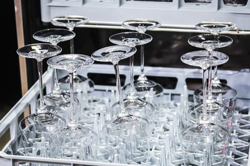 wine glasses made of glass in the dishwasher. Home appliances
