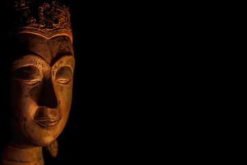 Zen Buddhism. Spiritual enlightenment of serene Buddha head in meditation.