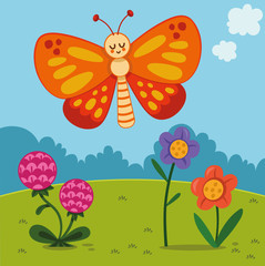 Cartoon Butterfly Character in Nature (Vector illustration)