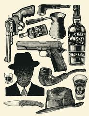 Men's Accessories Set. Hand Drawn Design Element. Engraving Style. Vector Illustration