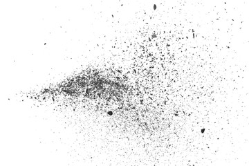 Black coal dust with pieces isolated on white background and texture, top view