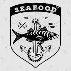 Seafood logo with fish and fishing rods . Vintage badge design. Vector illustration.