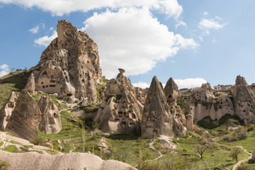 the sculpted landscape of the volcanic region of Cappadocia