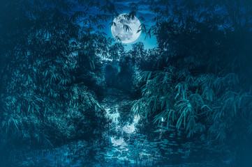 Tranquil river with full moon and bamboo trees. Serenity nature background.
