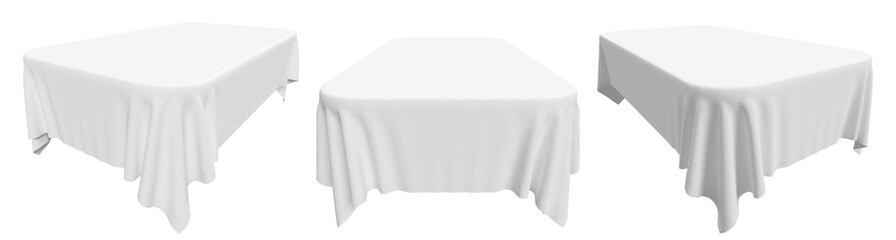 Rounded rectangular white tablecloth set