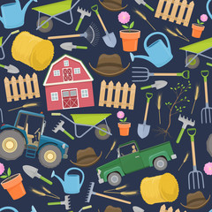 Seamless pattern of colorful farming equipment icons. Farming tools and agricultural machines decoration. Vector