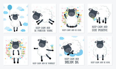 Set of Vector cartoon sketch sheeps illustration with motivation lettering phrase