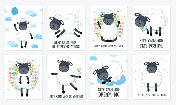 Set of Vector cartoon sketch sheeps illustration with motivation lettering phrase
