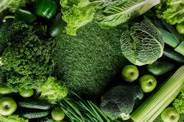 top view of green vegetables and fruits on grass, healthy eating concept