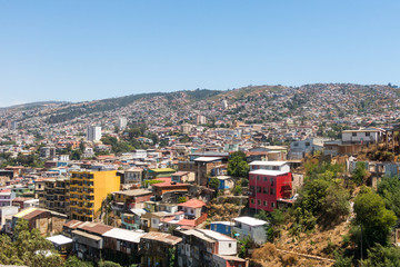 View on Cityscape of historical city Valparaiso, Chile.