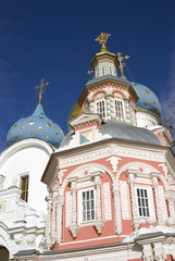 Architecture of Trinity Sergius Lavra, Sergiyev Posad, Russia. Color photo.