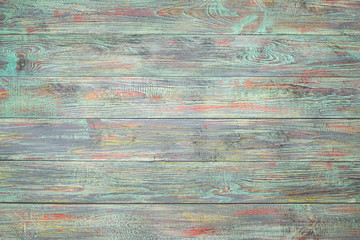 Wooden texture is multi-colored. Top view. Copy space for text