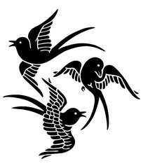 Swallows in flight, 3 kinds, symbol