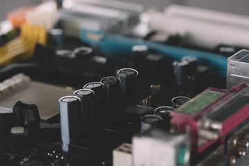 Closeup view of electronic circuit logic board