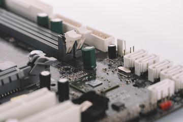 Typical desktop computer baseboard close-up view