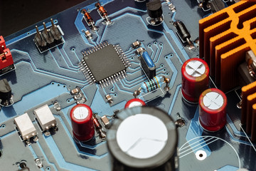 Closeup view of electronic system board