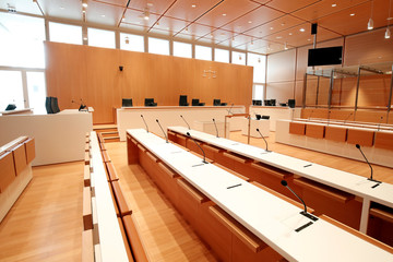 A courtroom of the new Paris courthouse, designed by Italian architect Renzo Piano, is pictured during a press visit in Paris
