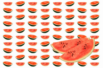 water melons  slice  on white background