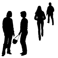 Vector dark silhouettes of a group of young people in full growth, standing, profile, view from the back, outgoing sports figure of a high girl, energetic woman in motion, isolated on a white backgrou
