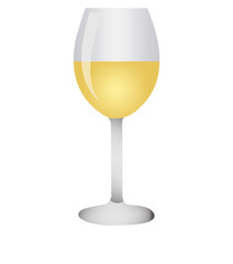 white wine glasses.Realistic glass on white background. Vector illustration