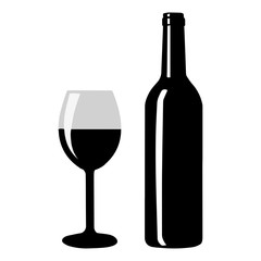 Wine bottle and glass silhouette - vector illustration.