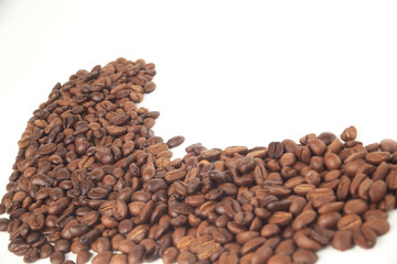 black coffee beans on white background.photo with copy space