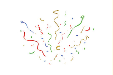 Golden confetti, isolated on cellular background. Festive vector illustration Tiny confetti with ribbon on white background. Festive event and party. Vector yellow.