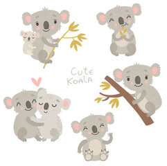 Koalas, vector animals, characters