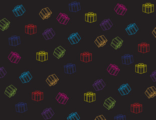 colorful gift box pattern on black background