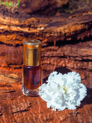 The oil of sandalwood. Traditional Indian perfume. Massage oil.