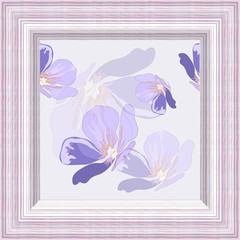Vector design frame texture under eco veneer with picture seamless pattern blue flowers on a light background