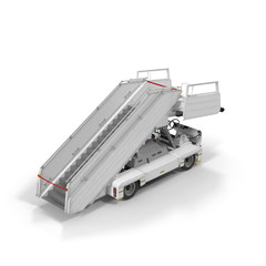 Passenger Boarding Stairs Car on white. 3D illustration