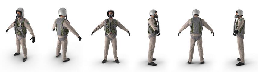 Russian Jet Fighter Military Pilot on white. 3D illustration