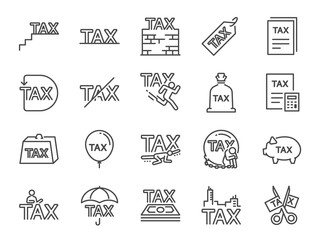 Taxes icon set. Included the icons as fees, personal tax, duties, mandatory financial charge, claims, duty free, heavy, tariff and more