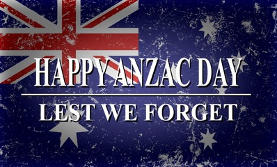 Illustration of Anzac Day background with australian flag