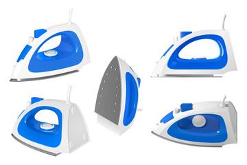 Утюг для глажки и отпаривания белья, голубой и белый пластик, изолированный объект на белом фоне, в разных ракурсах
