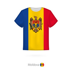 T-shirt design with flag of Moldova.