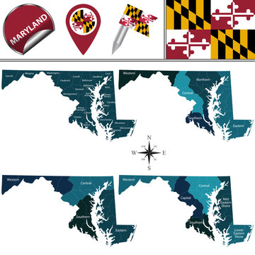 Map of Maryland with Regions