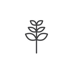 Rowan tree leaf outline icon. linear style sign for mobile concept and web design. Leaf of a mountain ash simple line vector icon. Symbol, logo illustration. Pixel perfect vector graphics