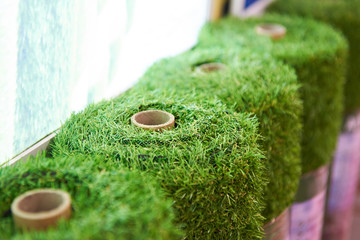 Rolls of artificial grass cover