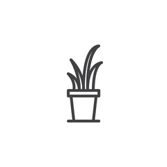 Small Succulent In A Pot Outline Icon. Linear Style Sign For Mobile Concept  And Web