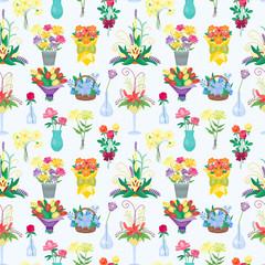 Vintage floral vector bouquet garden flower seamless pattern background botanical natural illustration summer floral botany colorful bloom decoration.