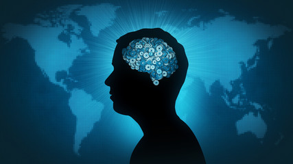 Man profile silhouette with gearwheel brain in front of Earth map