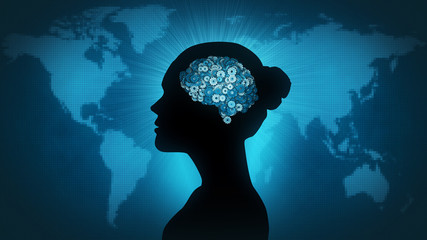 Woman profile silhouette with gearwheel brain in front of Earth map