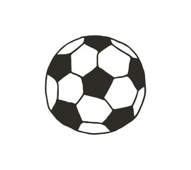 Hand draw vector cartoon football ball illustration on white background