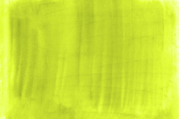Toxic yellow green watercolor texture hand painted background color hand drawn splashing on the paper