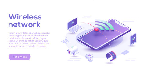 Internet of things layout. IOT online synchronization and connection via smartphone wireless technology. Smart home concept with isometric icons and symbols. Vector illustration.