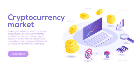 Cryptocurrency transfer isometric vector concept illustration. Digital crypto currency exchange or transaction process background. Blockchain network business layout. Online payment or mining process.