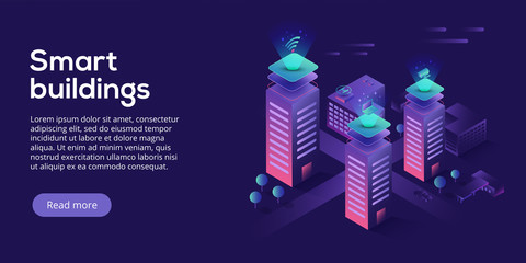 Smart city or intelligent building isometric vector concept. Building automation with computer networking illustration. Management system or BAS background. IoT platform as future technology. Wall mural