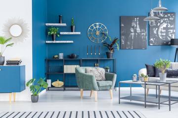 Modern blue living room interior